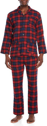 Bottoms Out Two-Piece Red & Navy Flannel Pajama Shirt & Pant Set