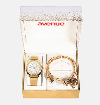 Avenue Gold Mesh Watch and Bracelet Set