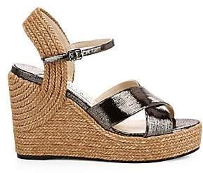 Jimmy Choo Women's Dellena Platform Espadrille Leather & Jute Wedges