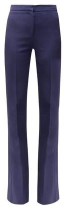 Alexander McQueen Satin Trimmed Flared Wool Trousers - Womens - Dark Blue