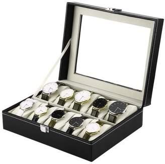 Musicrazyou Black PU Leather 10 Slots Wrist Watch Display Box Storage Holder Organizer Case