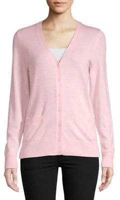 Lord & Taylor Wine Basic Merino Wool Cardigan