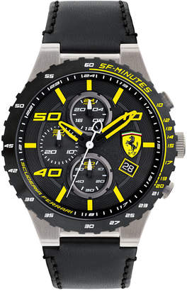 Ferrari Limited Edition Men's Chronograph Speciale Evo Chrono Black Leather Strap Watch 45mm 0830360