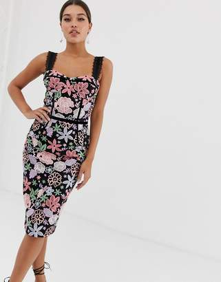 Bronx And Banco & Banco Camille floral embroidered pencil dress
