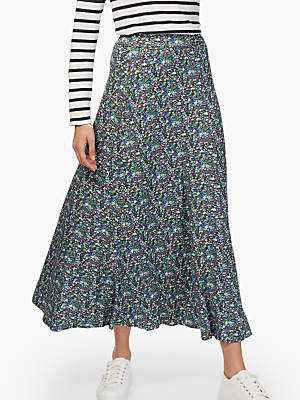Brora Liberty Jersey Flared Maxi Skirt, Violet Daisy