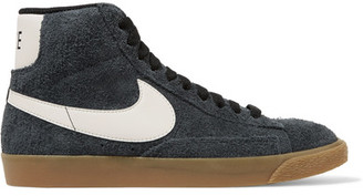 Nike - Blazer Mid Suede High-top Sneakers - Storm blue $100 thestylecure.com