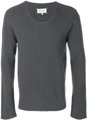 Maison Margiela low neck ribbed sweater