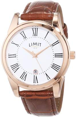 Limit Men's Quartz Watch with Dial Analogue Display and Brown PU Strap 5453.01