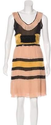 Fendi Embellished Pleated Dress