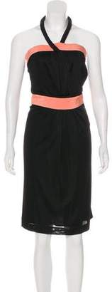 Fendi Silk-Trimmed Halter Dress