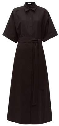 Raey Dolman Sleeve Belted Silk Blend Shirtdress - Womens - Black
