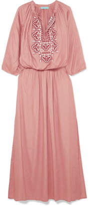Melissa Odabash Sienna Embroidered Voile Maxi Dress - Antique rose