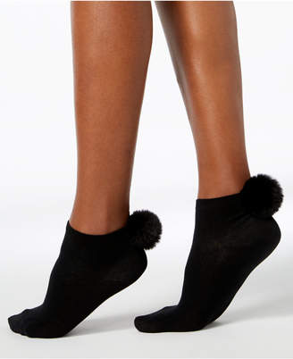 INC International Concepts I.n.c. Women's Faux-Fur Pom Pom Ankle Socks, Created for Macy's