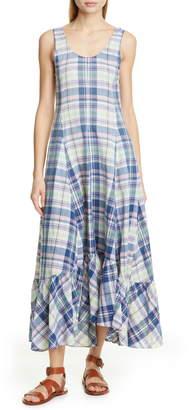 Polo Ralph Lauren Madras Plaid Cotton Maxi Dress