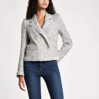 River Island White double-breasted fitted jacket
