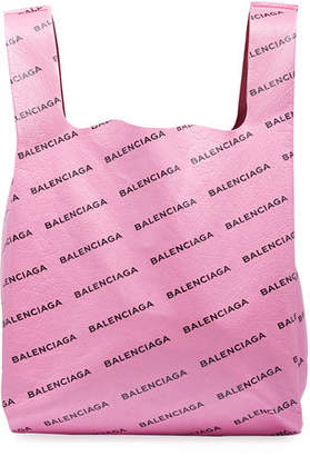 Balenciaga Men's Allover Logo-Print Leather Grocery Tote Bag