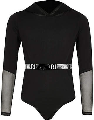 River Island Girls RI Active black mesh hooded bodysuit