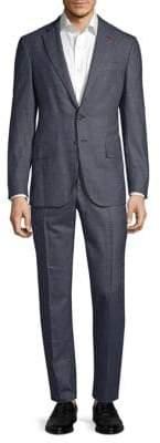 Isaia Regular-Fit Wool& Silk Windowpane Suit