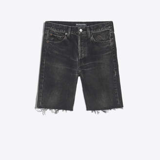 Balenciaga Stonewashed raw finishing denim short pants