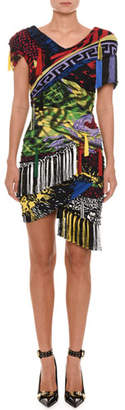 Versace Short-Sleeve Mixed-Print Tassel-Tie Fitted Dress