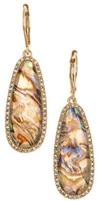 lonna & lilly Lonna and Lilly Pierced Abalone Dropped Stones Earrings