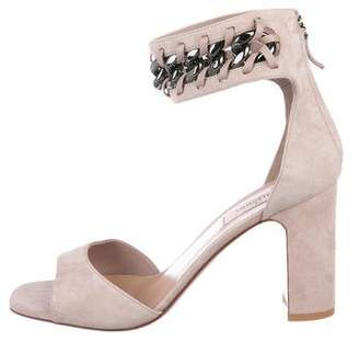 Valentino Suede Peep-Toe Sandals w/ Tags