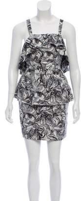 Peter Som Printed Peplum Dress