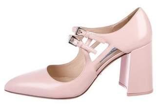 Prada Leather Round-Toe Block-Heels
