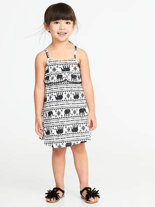 Old Navy Slub-Knit Pom-Pom Ruffle Swing Dress for Toddler Girls