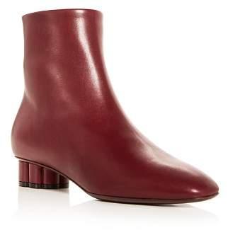 Salvatore Ferragamo Women's Molfetta 30 Leather Flower Heel Booties