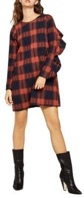 BCBGeneration Plaid Ruffle-Trimmed Cotton Shift Dress