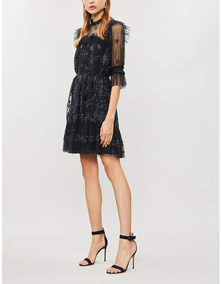 NEEDLE AND THREAD Lace Illusion embroidered tulle mini dress