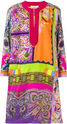 Etro contrasting panel kaftan dress