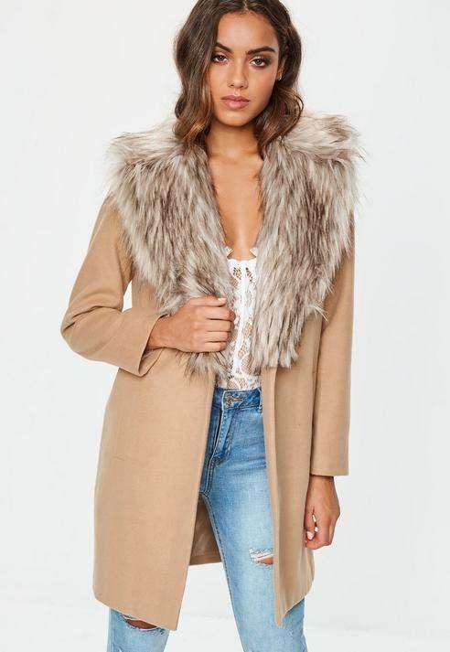 Camel Faux Fur Collar Short Formal Coat, Camel