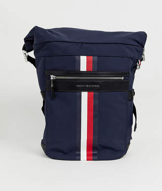 Tommy Hilfiger roll top backpack with icon stripe in navy