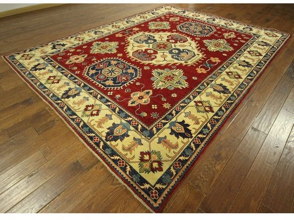 Unique Geo-floral Vibrant Red Hand-knotted Super Kazak Wool Area Rug (8' x 11')