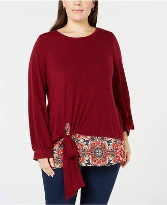 NY Collection Plus Size Tie-Hem Top