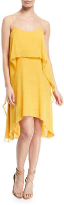 Halston Flowy Layered-Flounce Sleeveless Dress