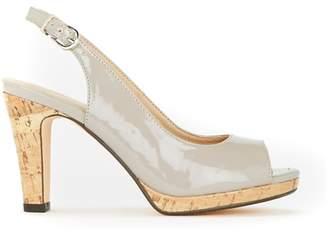 Wallis Grey Slingback Platform Peeptoe Shoes