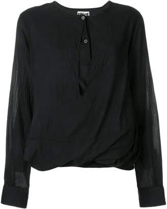 Hache cuff draped blouse