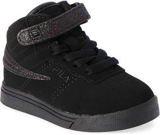 Fila Toddler/Kids Girls) Black Vulc 13 Glitter Blast Strap Sneakers