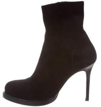 Ann Demeulemeester Suede Round-Toe Ankle Boots Black Suede Round-Toe Ankle Boots