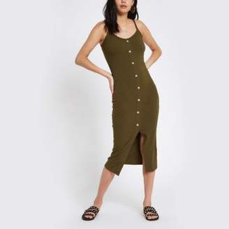 River Island Womens Khaki button front rib bodycon dress