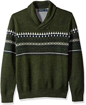 Nautica Men's Long Sleeve Crew Neck Fairisle Sweater