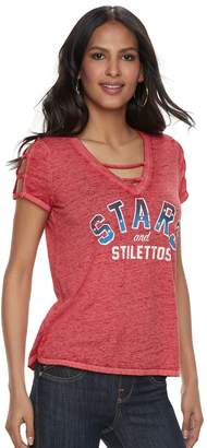 "Rock & Republic Women's Stars and Stilettos"" Strappy Cold-Shoulder Tee"