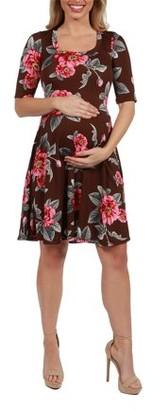 24/7 Comfort Apparel Gemma Brown Floral Maternity Mini Dress