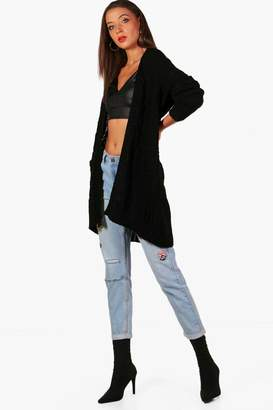 boohoo Tall Slouchy Cable Cardigan