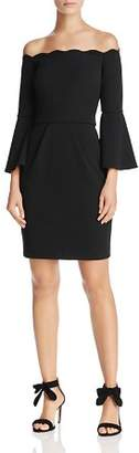 Aqua Scuba Off-the-Shoulder Bell Sleeve Dress - 100% Exclusive