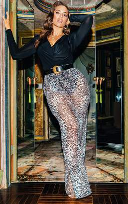 PrettyLittleThing Leopard Print Mesh Maxi Skirt