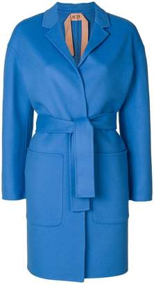 No.21 belted wrap-over coat